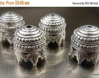 20% Clearance SALE 10mm Bead Cap - Antique Silver Maharaja - 4 Pack (G - 211)