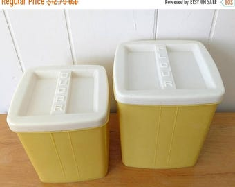 LOVE SALE vintage yellow plastic canister set