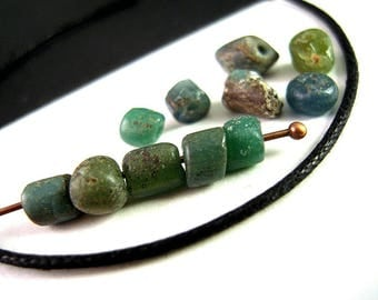 CURATED Listing, 11 Larger Rustic Ancient Bactrian Green Excavation African Trade Bead Mix, 3mm, 5mm, Ancient Glass Artifact Beads EX04-11