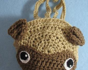 Crochet Pattern - Pug Grocery Bag Crochet Pattern - Tote Pattern - Grocery Bag Pattern - Pug Pattern - Digital Download