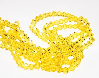 Sunshine Yellow Bicone Crystals- crystal beads- yellow beads- beading supplies- jewelry supplies- bicone crystals- designer beads