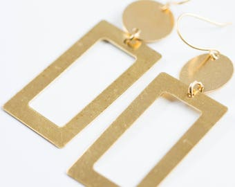 Geometric Statement Earrings, Big Brass Earrings, Long Minimalist Earrings, Rectangle Earrings, Bohemian Earrings, Brass earrings