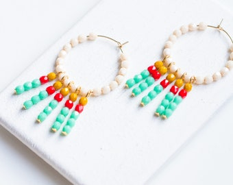 White Bead Hoop Earrings, White Beaded Hoops, Fringe Earrings, White Hoops, Turquoise hoops, Fringe Earrings, Turquoise Hoops, Boho Earrings