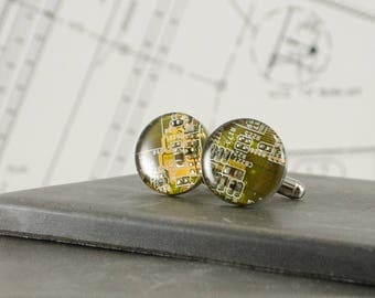 Circuit Board Cuff Links Yellow, Circuit Board Jewelry, Computer Cufflinks, Gifts for Electrical Engineers, Fathers Day Gift, Gift for Dad