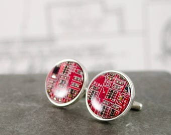 Sterling Silver Circuit Board Cuff Links CHOOSE COLOR, Computer Cufflinks, Wearable Technology Jewelry, Engineer Gift, Best Man Wedding GIft