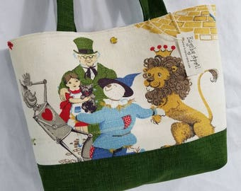Wizard of Oz purse tote Bags by April Vintage Barkcloth Fabric