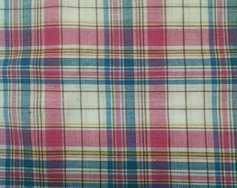 Fabric plaid pink blue yellow cotton fabric