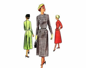 SALE 1950s Womens Dress McCall 8315 Vintage Sewing Pattern Jewel Neck Gored Skirt Back Zipped Dress Junior Misses Size 13 Bust 31 Uncut