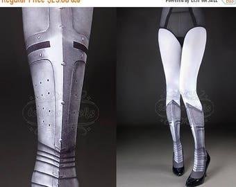 30%off/endsJUL23/ Tattoo Tights -  Warrior Princess white full length printed closed toe tights, pantyhose, tattoo socks, shield, knight