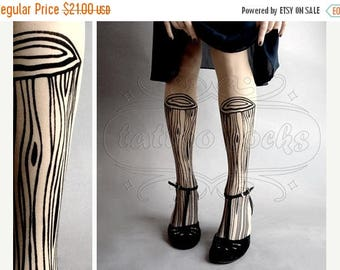 SALE///endsAug22/// Wooden Legs TATTOO gorgeous thigh-high stockings Ultra Pale