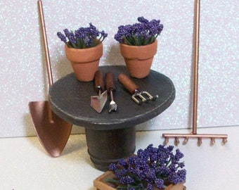 SALE 20% MINIATURES Fairy or gnome Garden miniature wood table with flower pots and gardening tools