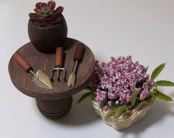 SALE 20% MINIATURES Fairy or gnome Garden miniature wood table with flower basket and gardening tools