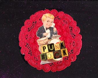 Little Punk Rock Drummer Boy {Original Collage}