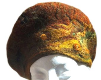 KIT SALE felted wool tam beret, wet & needle felted, Custom ,Choice of colors, beads, Beret, wool hat, Made to order