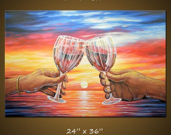 """Art Painting Modern Dining Room Bar Decor Wine Glasses Setting Sun Ocean... """"Our Sunset"""" 24"""" x 36"""" by Amy Giacomelli"""