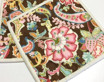 Pot Holders Floral Paisley Hot Pads (Set of 2) Quilted Handmade