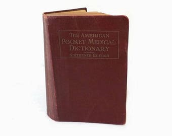 1938 American Pocket Medical Dictionary, 16th Edition, Red Leather Book