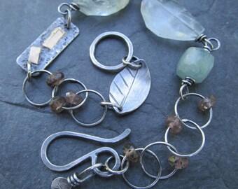 Silver Charm Bracelet Aquamarine Boho Charm Bracelet Silver and Pastel Blue Gemstone Bracelet Silver and Gold Bracelet Funky Silver Jewelry