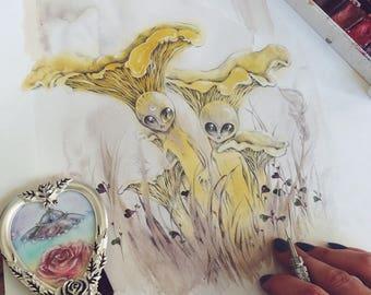 Yellow Entities // Alien / Ufo / Shroom Art Print