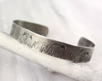 Birds and Meadow Stamped Silver Cuff Bracelet