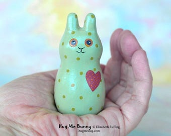 Handmade Bunny Rabbit Figurine, Miniature Sculpture, Green, Red Hug Me Bunny, Animal Charm Figure with Flowers, Personalized Tag