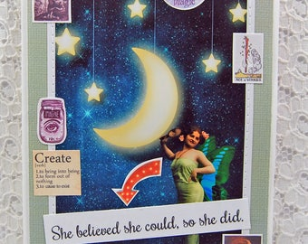 """She Believed She Could Card comes w 1"""" Pin Back Button-You Can Do It Card-Moon Goddess Card-Ace of Wands-Make Your Dreams Come True"""