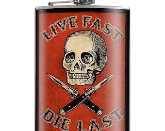 Live Fast Die Last - Skull and Switch Blades Vintage 20th Century 8oz Stainless Steel Flask - comes in a GIFT BOX -  by Trixie & Milo