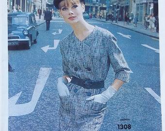 Vintage Vogue Couturier Design pattern 1308 Ronald Paterson of London size 16 retro dress 1960s