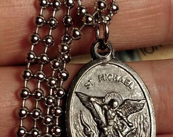 Flash Sale Saint St Michael Guardian Angel Darkened Silver Religious Medal Necklace Long Steel Chain