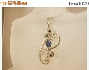 Moving Sale 40% Off Blue Sapphire Sterling Silver Pendant