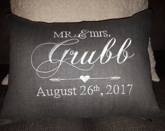 Decorative pillow cover-Mr. & Mrs.-Newlyweds, wedding pillow, home decor, throw cushion cover. Mr and mrs