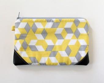 zipper pouch, cash envelope, Eyeglass case, Pen pencil, cash wallet, Cosmetic makeup case, Yellow, Gray bag, sunglasses case, Vegan leather