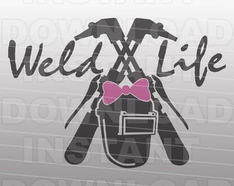 Welding SVG File,Weld Life SVG,Girl Welder svg -Vector Art for Commercial & Personal Use,SVG Cut File for Silhouette and Cricut Cutter,Decal