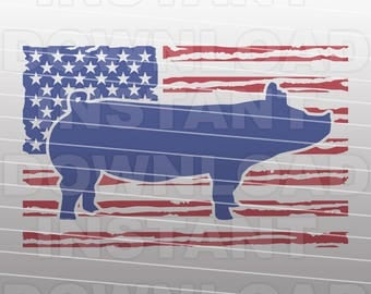 Show Pigs USA Flag svg File,Livestock SVG,Farming SVG -Commercial & Personal Use- Vector Art for Cricut,Silhouette Cameo,iron on vinyl