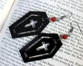 Black Acrylic Coffin Earrings with Carnelian Beads - Halloween Goth Witch Vampire