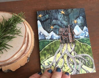note card, We put down roots, illustrated blank card, cabin mountain house, rustic cabin, glossy finish