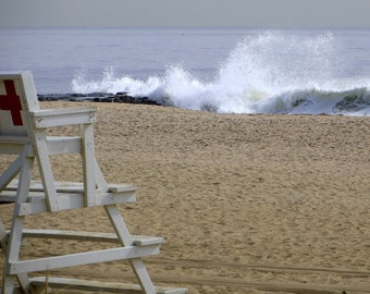 Lifeguard Chair and Wave on Empty Beach 8x10 photo print