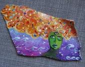 "Original Painting on sea pottery ""Green Plate Cosmic""  twilightdance OOAK"