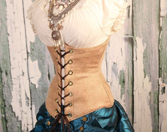 Waist 44 to 46 Sturdy Tan Faux Leather Wench Corset WAS 89