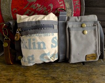 Franklin Sugar - Felco Feeds -  Convertible Belt/Waist Bag Vintage seed sack - Americana OOAK Canvas & Leather Bag Selina Vaughan Studios