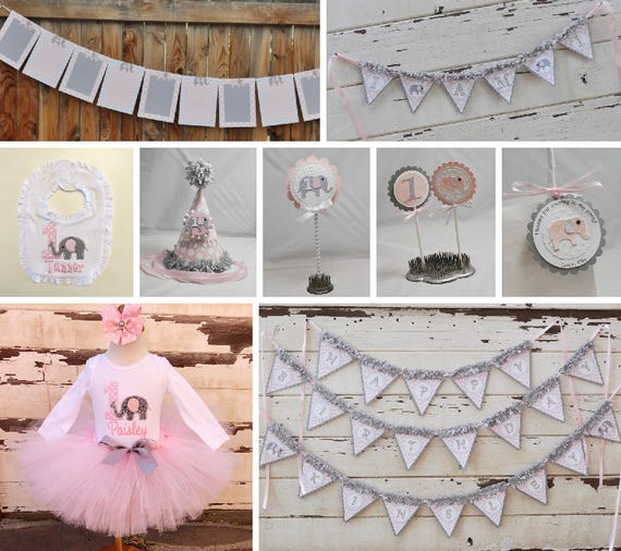 Girl Elephant Party Package 1st Birthday Tutu Outfit