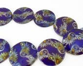 Summer Sale 30mm Czech freshwater shell beads purple with oriental design  16 pieces 1102
