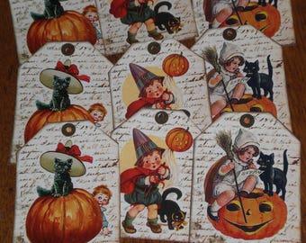 9 Primitive Hang Tags Gift Ties - Halloween - Pumpkin - Jack O Lantern - Spooky Black Cat - Ornies