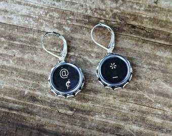 Punctuation Earrings Writer Gift Ideas, Vintage Typewriter Key Earrings