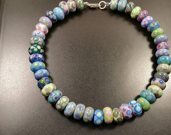 Handmade Lampwork Beaded Necklace Blues Turquoise Green Pink Purple