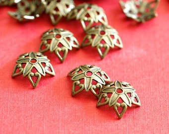 Top Quality 15pcs Antique Bronze Flower Brass Bead Caps KK-B505-AB