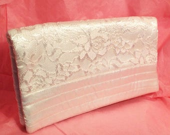 Fold over Clutch, Cream rose motif lace and satin. Perfect wedding Gift