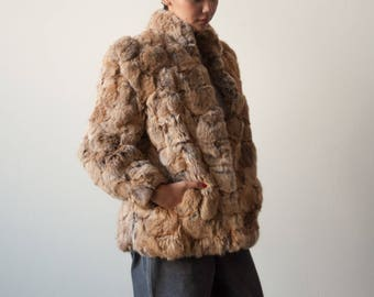 80s patchwork rabbit fur jacket / puff sleeve fur coat / s / 2270o / R5