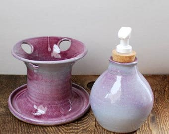 Three Piece Purple Blush Bathroom Set  Stoneware Clay Pottery Ready to Ship