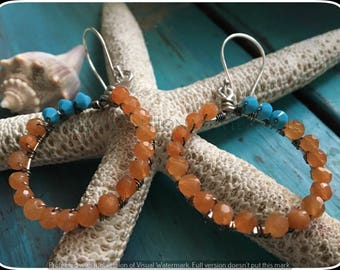 Summer Jewelry, Beaded Circle Earrings, Carnelian Earrings, Wire Wrapped Earrings, Turquoise Earrings